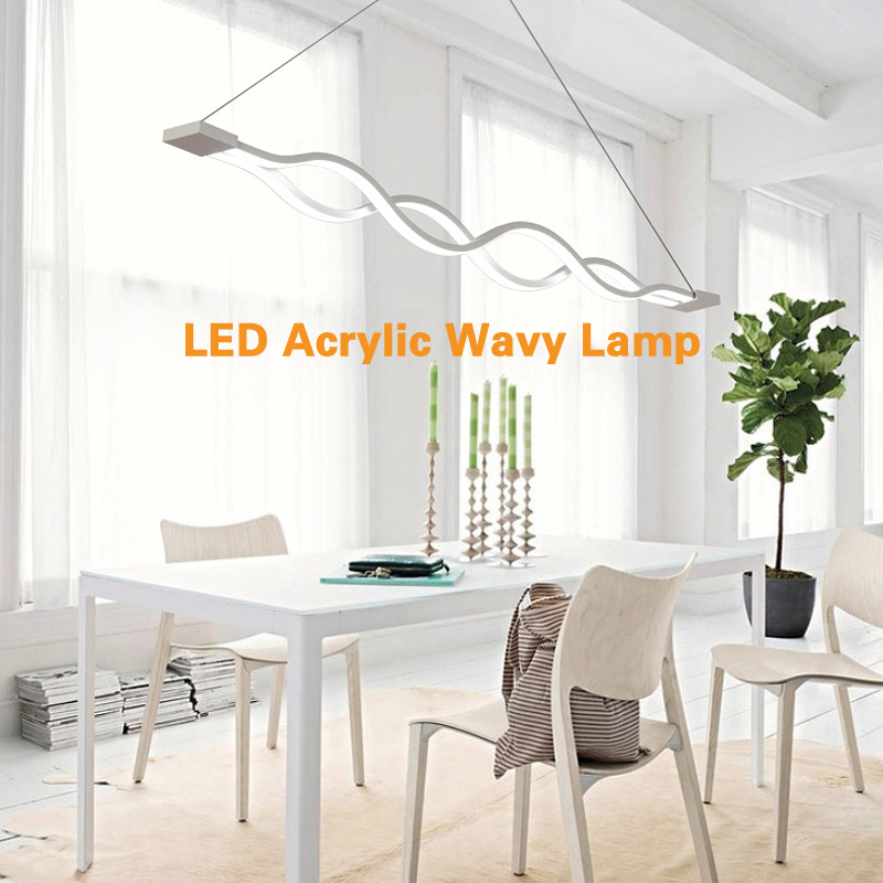 Modern  Pendant Light Simple  LED Acrylic Wavy Lamp Ceiling Suspension Fixture For Restaurant And Bar lightingModern  Pendant Light Simple  LED Acrylic Wavy Lamp Ceiling Suspension Fixture For Restaurant And Bar lighting