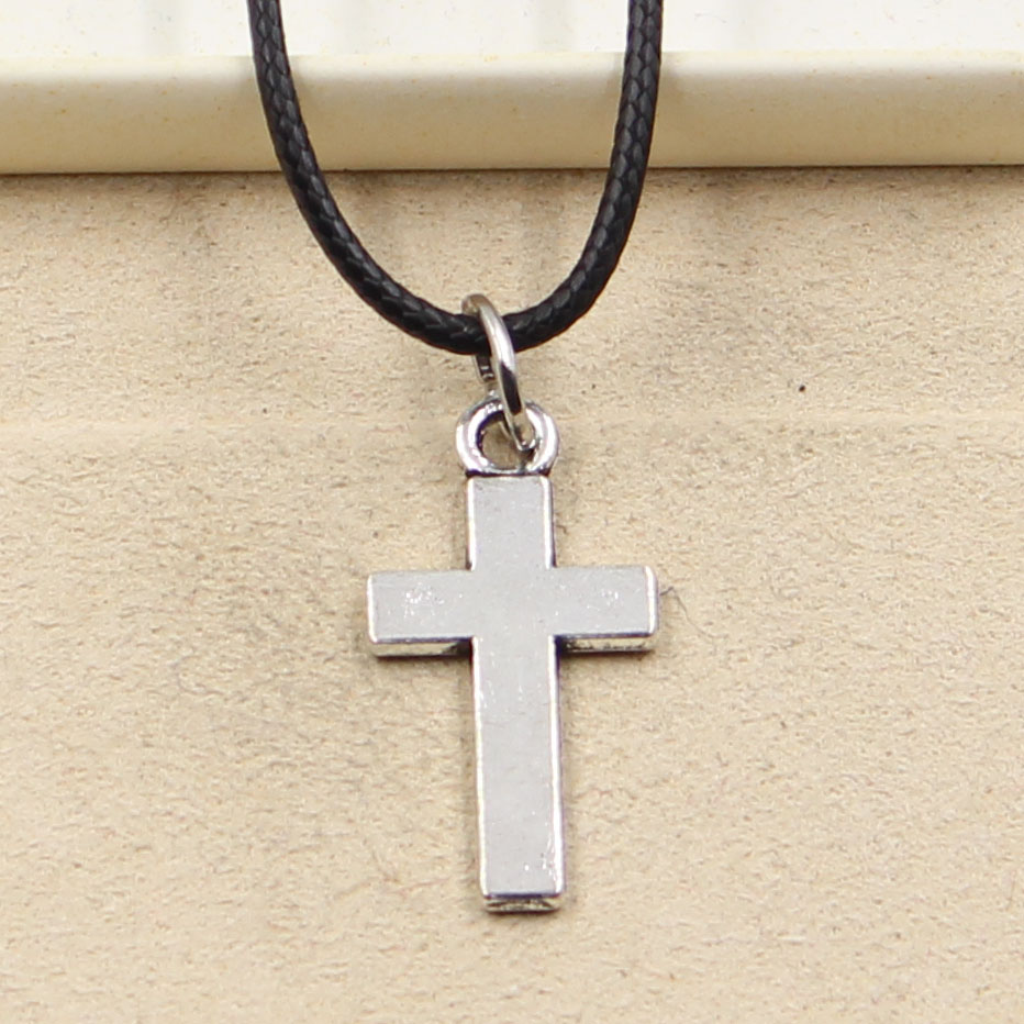 New Fashion Tibetan Silver Color Pendant Cross Necklace Choker Charm Black Leather Cord Factory Price Handmade Jewelry