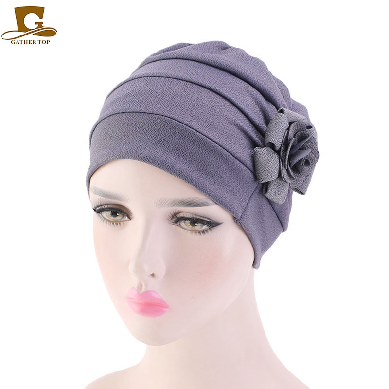 New Women Large flower Chemotherapy Cap Ruffle Cancer Chemo hat Turban Scarf   Beanie   Cap for Cancer Patient