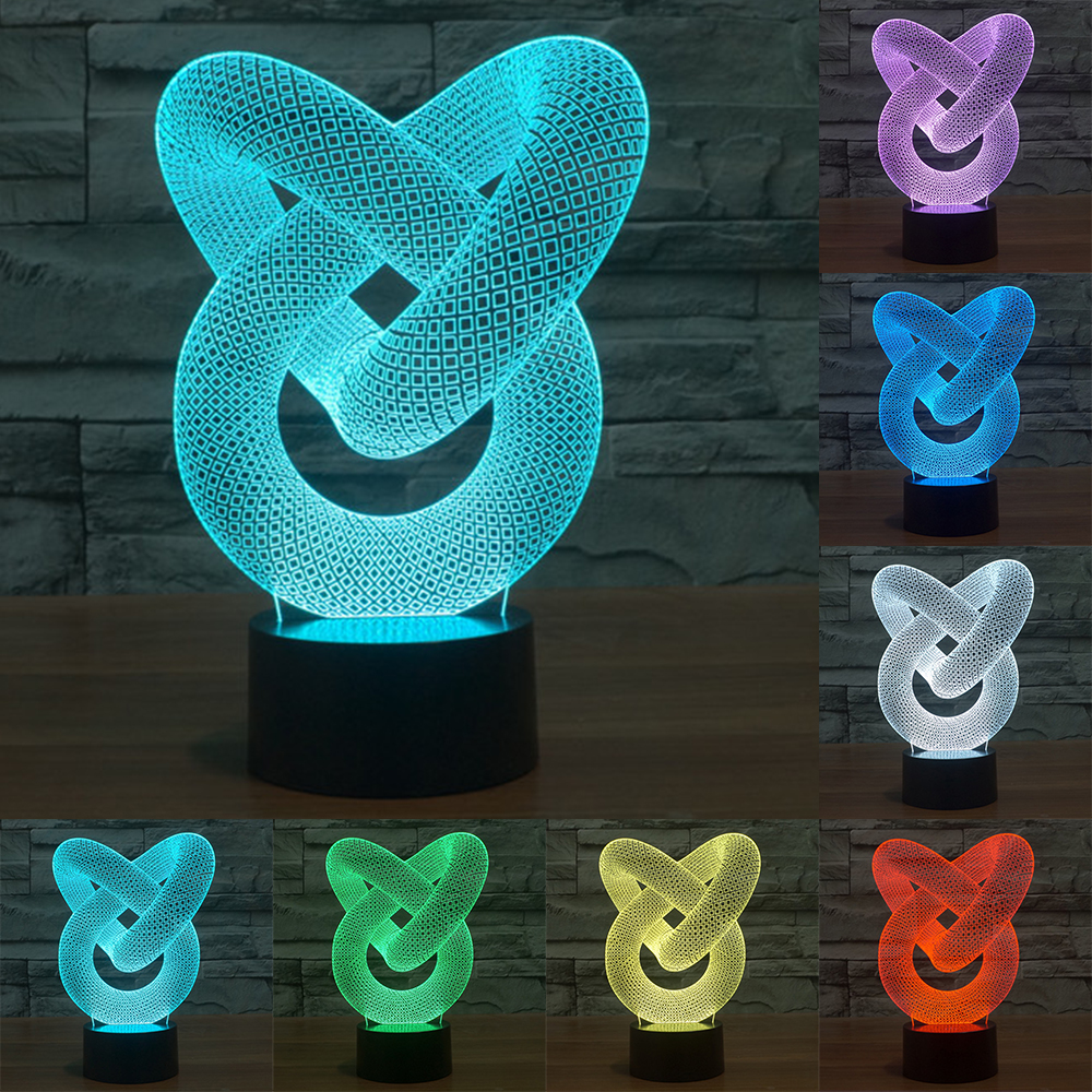 Creative Illusion Lamp LED Night Light 3D Abstract Graphics Acrylic Colorful Gradient Atmosphere Lamp Novelty Lighting