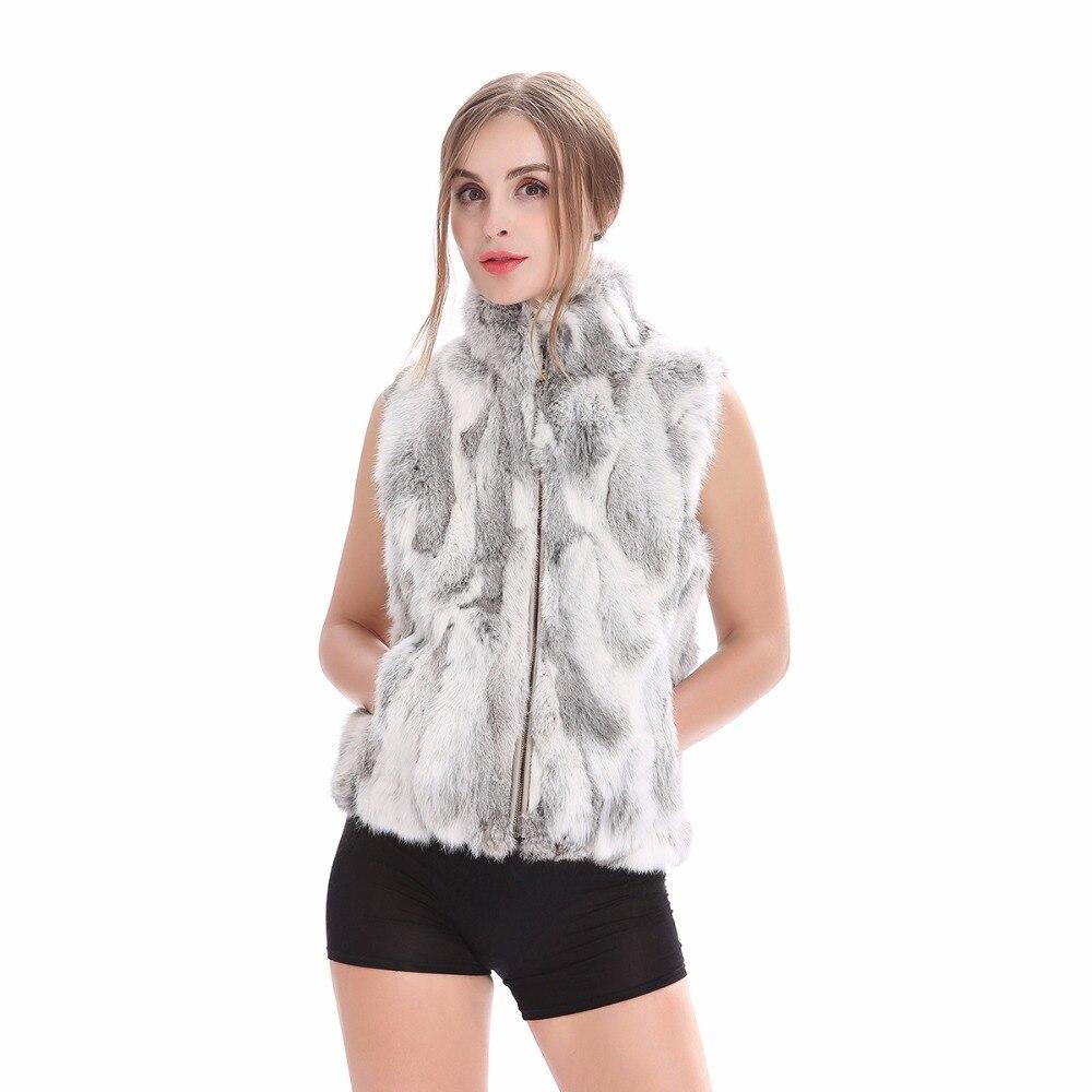 QIUSHAN Autumn Lady Genuine Natural Fur Rabbit Fur Vest Mandarin Collar Winter Women Fur Waistcoat Female