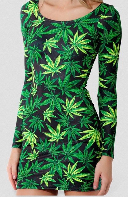 Hot selling 2014 new arrival fashion slim sexy women GREEN FOLIAGE digital print galaxy long sleeve dress black milk girls cloth