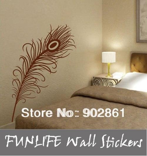 [funlife]1pc drop ship-Peacock Feather Art  vinyl Wall Sticker Decal Deco 110cm high