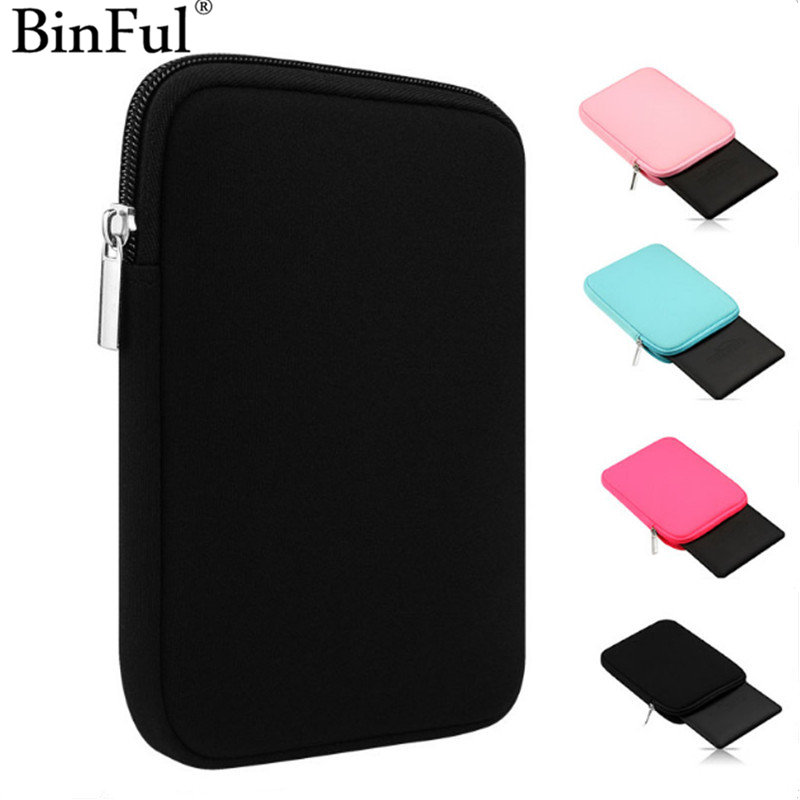BinFul Soft Tablet Liner Sleeve Pouch Bag for iPad Mini 1/2/3/4 Air 1/2 Cover Case for iPad Pro 9.7 New iPad 9.7 for Kindle 6 lss soft sleeve bag case pouch tablet cover for 7 9 9 7 12 9 ipad mini 1 2 3 4 ipad air 2 ipad pro anti scratch shockproof