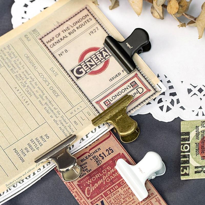30mm Vintage Binder Clip Letter Printed Sweet Expression Food Bag Note Clip Creative Metal Clip Lovable Bill Folder Stationery
