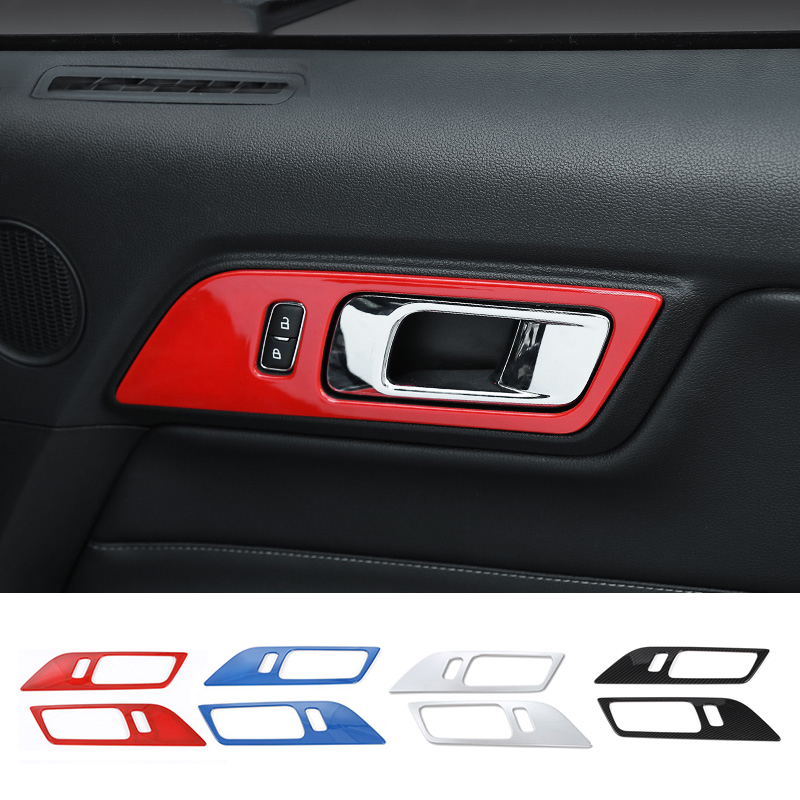 SHINEKA Interior Moulding for Ford Mustang 2015 2017 Carbon Fiber Decoration Door Bowl Handle Cover Decoration for Ford Mustang in Interior Mouldings from Automobiles Motorcycles
