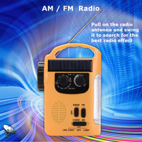 Portable Flashlights & Torches Solar Power Outdoor Emergency Hand Crank Solar AM/FM Radios Power Bank with LED Lamp