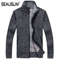 SEAUSLIM Plus Size 2XL 3XL Casual Cardigan Camisola dos homens Gola Blusas Roupas Blusas de Inverno Quente Grossa dos homens Q-MKY-3