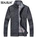 SEAUSLIM Plus Size 2XL 3XL Casual hombres chaqueta de Punto de Los Hombres de Cuello alto Suéteres Calientes Del Invierno Gruesos Suéteres Ropa Q-MKY-3