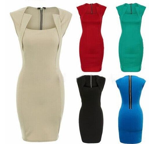 plus size xxl women bodycon dress office lady work pencil midi red ...