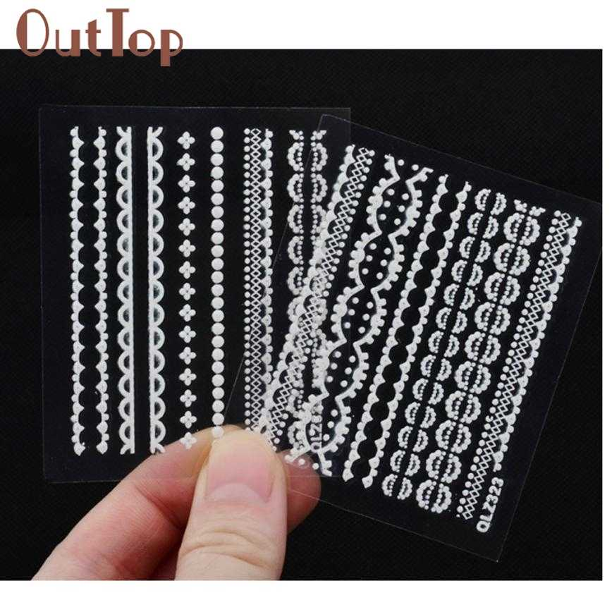 Stiker kuku 30 pcs 3D Renda Bunga Desain Nail Art Manicure Tips Sticker Decal DIY Dekorasi 30 lembar Nail Art Sticker