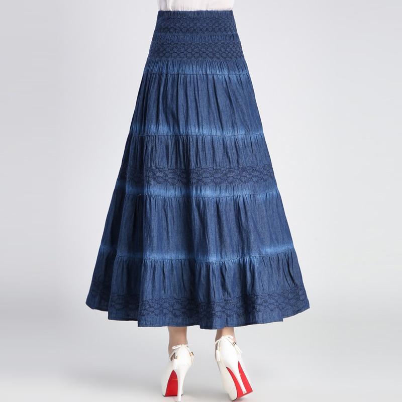Nueva Lace Otoño Primavera Y Mujeres A Maxi Faldas Denim L up Jeans Envío Largo 2018 Alta Cintura line Gratis Moda xl Verano HgTqS6wE