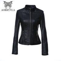 AORRYVLA New Fashion Faux Leather Jacket Dla Kobiet Jesień 2017 Krótka Czarny Kolor Stójka Zamki Panie Kurtki Płaszcz