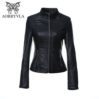 AORRYVLA New Fashion Faux Leather Jacket For Women Autumn 2017 Short Black Color Mandarin Collar Zippers