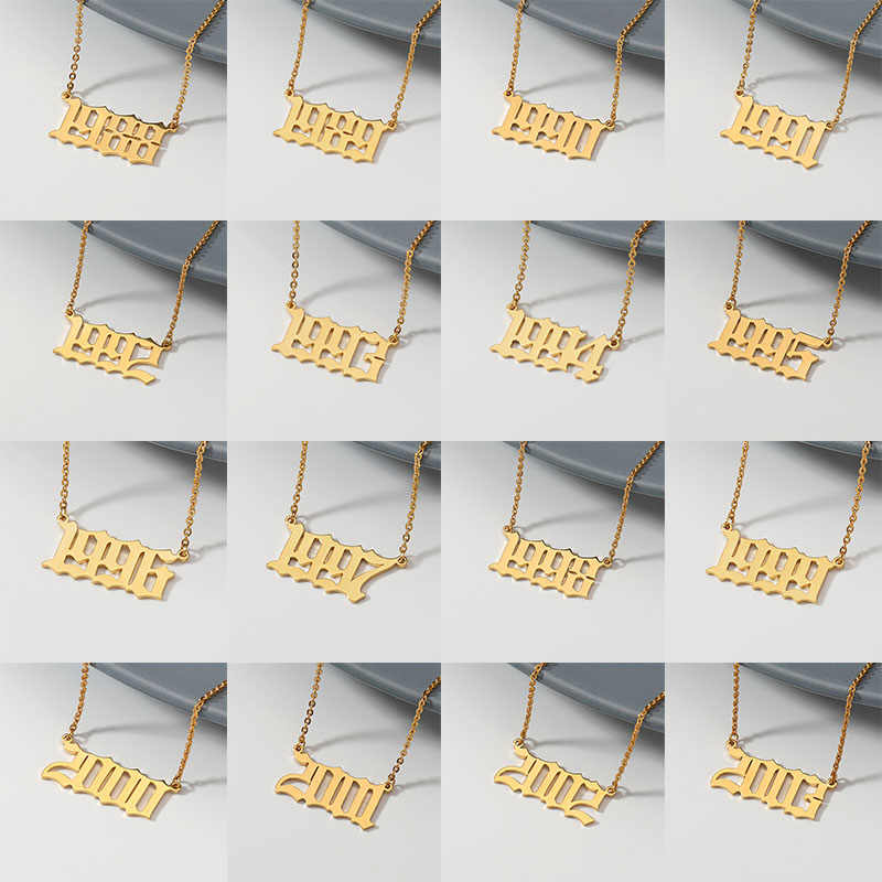 Anno di nascita Della Collana Per Le Donne In Acciaio Inox di Colore Dell'oro Anno Numero Oro Collane Con Pendente 2019 di modo Bff Regalo Dei Monili