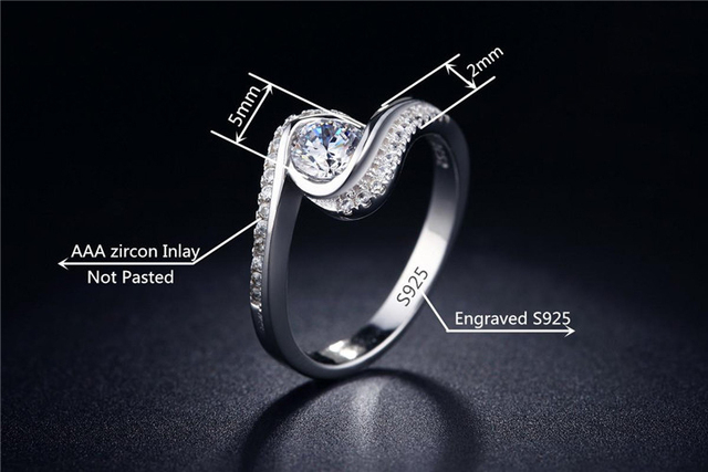 QCOOLJLY Vintage CZ Nice jewelry Women Silver Color Rings with 925 stamp Elegant Wedding engagement bague for lady Bijoux