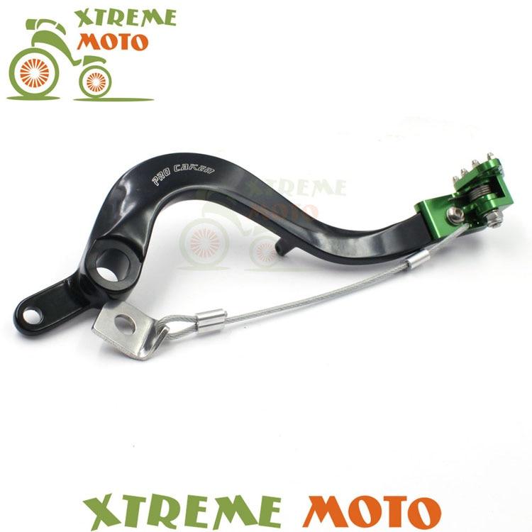 ЧПУ Заготовка зеленый гибкий задний MX ножной тормоз рычаг педаль для Kawasaki KX450F KLX450R Мотокросс Грязь Яма велосипед внедорожных гонок