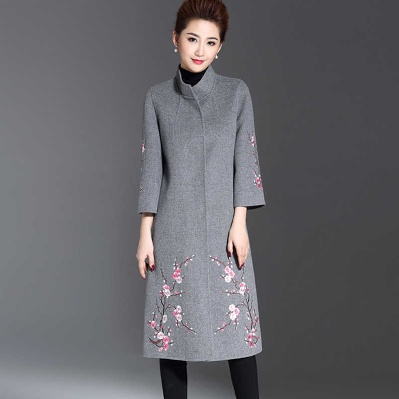 2019 Winter New Female Embroidery Wool Coat Women's Large Size National Style Long Jacquard Woolen Coat Gray Wine Red Dark Blue