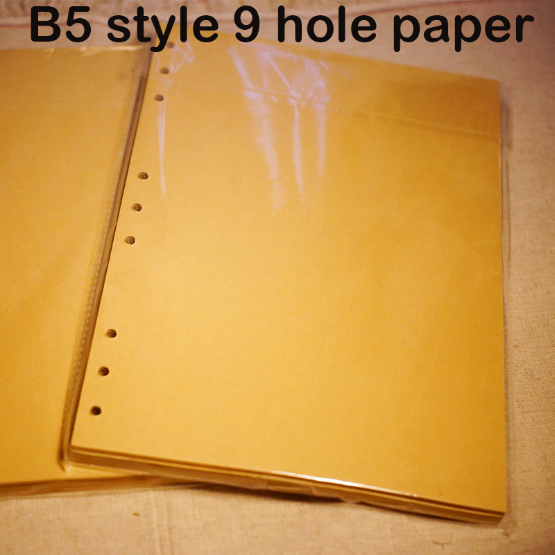Standard B5 spiral notebook inside 60 pcs quality kraft paper page 9 hole on paper loose leaf page for genuine leather notebook becoming grandma page 9