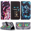 J5 S4 S5 S6 S7 Edge Alice in Wonderland Cheshire Cat PU Leather Case For iPhone 5 5s SE 4 4s 5c 6 Plus 6S 7G Standing Cover 2016