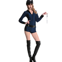 Sexy Police Jumpspuit Women Police Woman Sexy Cop Costume Hot Sexy Ladies Police Costumes With Hat Handcuffs Belt W530359