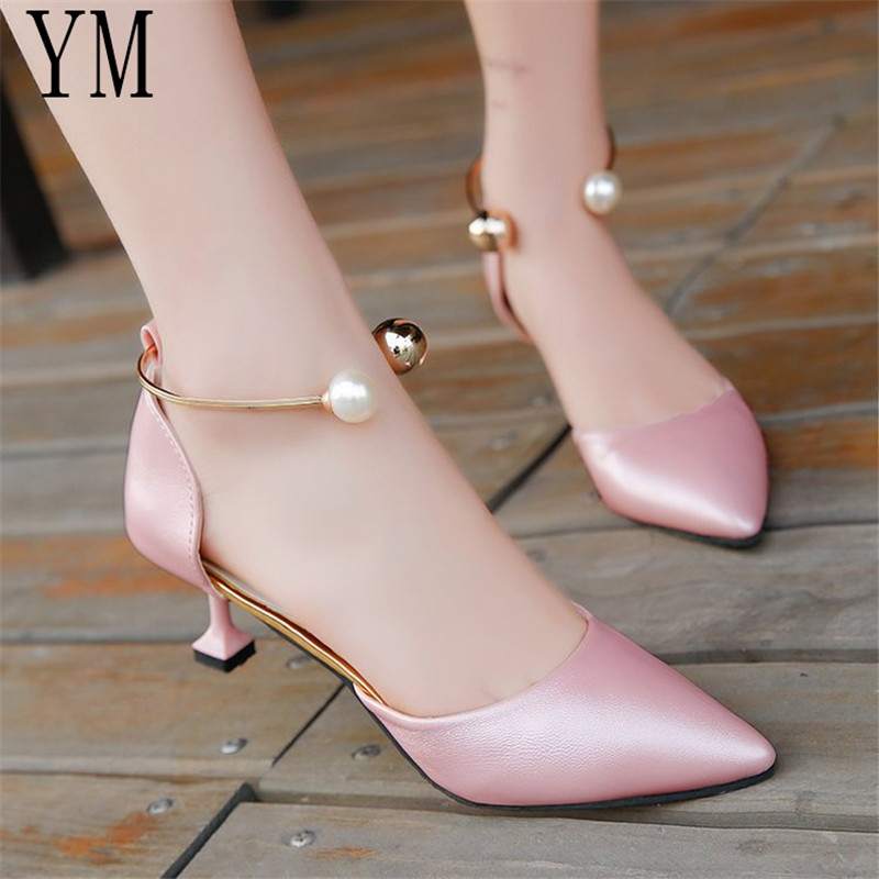 Big 39 Women Shoes Pointed Toe Pumps Dress Shoes High Heels Shoes Wedding Shoes tenis feminino String Bead Side with 3 Colour(China)