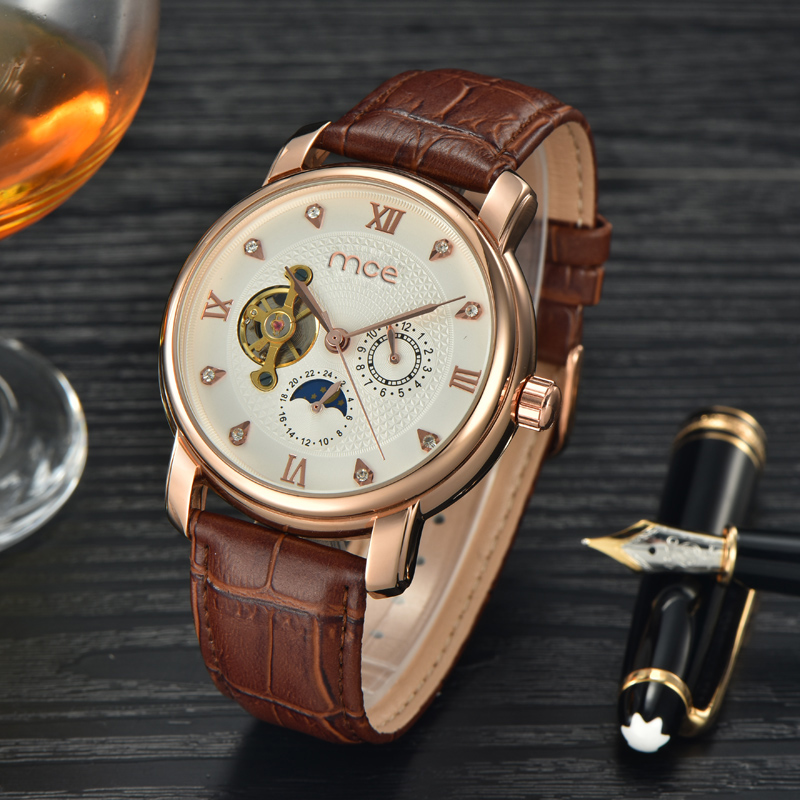 2018 new MCE brand Automatic Mechanical Watches for men fashion Skeleton Business Watch Casual Leather Band clock 436 mce automatic watches luxury brand mens stainless steel self wind skeleton mechanical watch fashion casual wrist watches for men