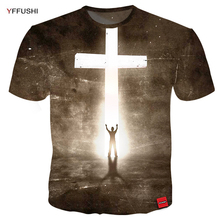 YFFUSHI 2018 Male Short Sleeve T-Shirts Unique Easter t-shirt Men Glowing Bright Cross 3D Print Tops Tees Plus Size 5XL