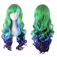 Anime Lolita Long Wavy Green Blue Ombre Wig Synthetic Hair Halloween Costume Party Cosplay Wigs For Women High Temperature Fiber long fluffy wavy oblique bang synthetic lolita wig
