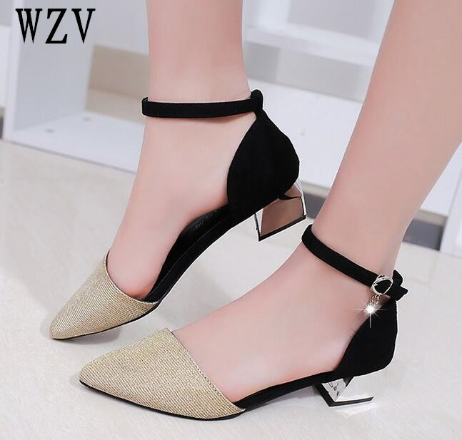 2018 New Pointed Toe Low Heel Pumps Black Gold Silver Shallow Mouth 3.5cm Thick High Heel Shoes Solid OL women shoes B298 [328] women autumn fashion shoes pu skin shallow low heeled shoes with high heel pointed shoes for ol lss 888