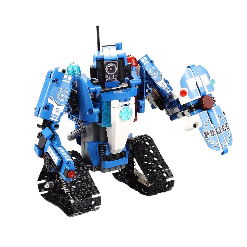526 sztuk Technic Creator policji seria klocki klocki pojazdu 2 IN 1 transformacja RC samochód robot edukacyjne dla dzieci zabawki w Klocki od Zabawki i hobby na  Grupa 3