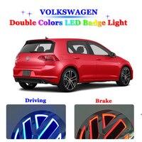 11cm Double Colors LED Badge Light For Volkswagen VW passat b6 b5 b7 VW jetta golf 4 5 6 mk5 mk6 mk7 polo LED Emblem Logo Lights