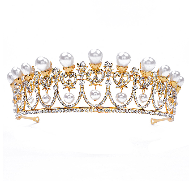 цены Silver Gold Vintage Pearl Crown Headband Wedding Crystal Diadem Queen And King Royal Crowns Tiaras For Pageant Prom Hair Jewelry