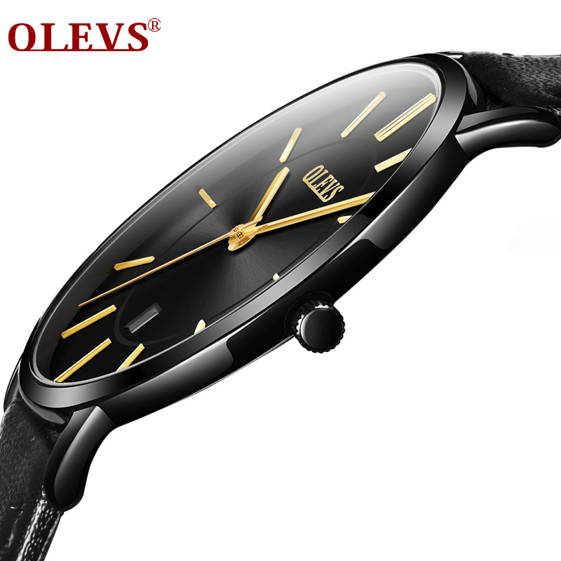 OLEVS Watch men Ultra thin Japan movement Quartz watch Genuine Leather Auto date waterproof Fashion simple Wrist watch relogio цена и фото
