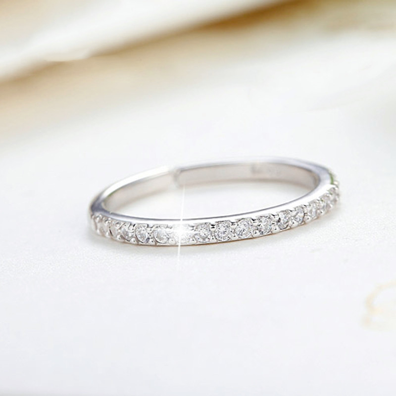 Shiny Crystal Rings for Women Silver Color Jewelry Girls Adjustable Size Open Finger Rings 5