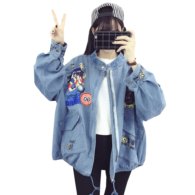 Denim   Jacket   Women 2018 Vintage Fashion Jeans Overcoat Ladies   Jacket   Tops Loose Cartoon Slim   Basic     Jacket   Clothing NW660