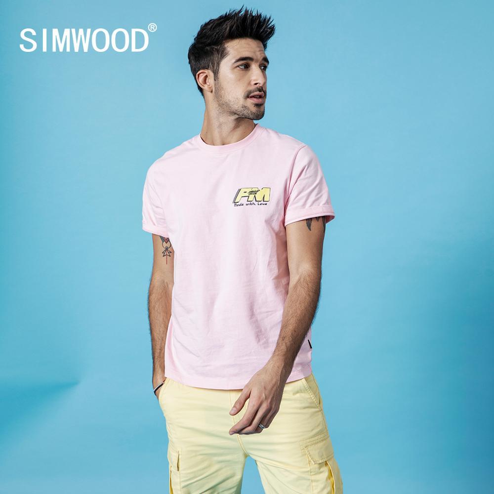 Мужская футболка SIMWOOD, летняя футболка из 100% хлопка с принтом и надписью, 190151 Футболки      АлиЭкспресс