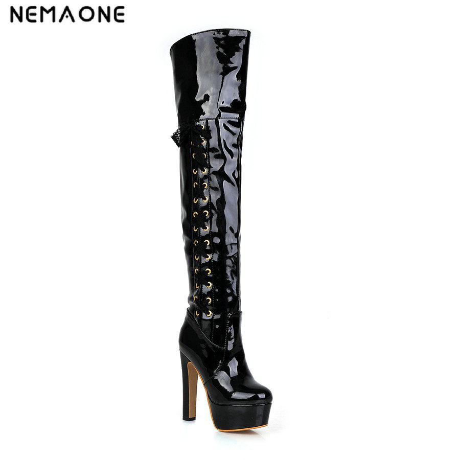 NEMAONE Womens Sexy Thigh High Boots Lace Up Over the Knee High Heel Boots Woman high heel boots dress Shoes Autumn Winter