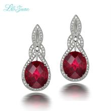 l&zuan S925 Silver Ruby Drop Earrings For Womens Trendy 10.52ct Red Water Drop Natrual Gemstones Fine Jewelry Party Gift