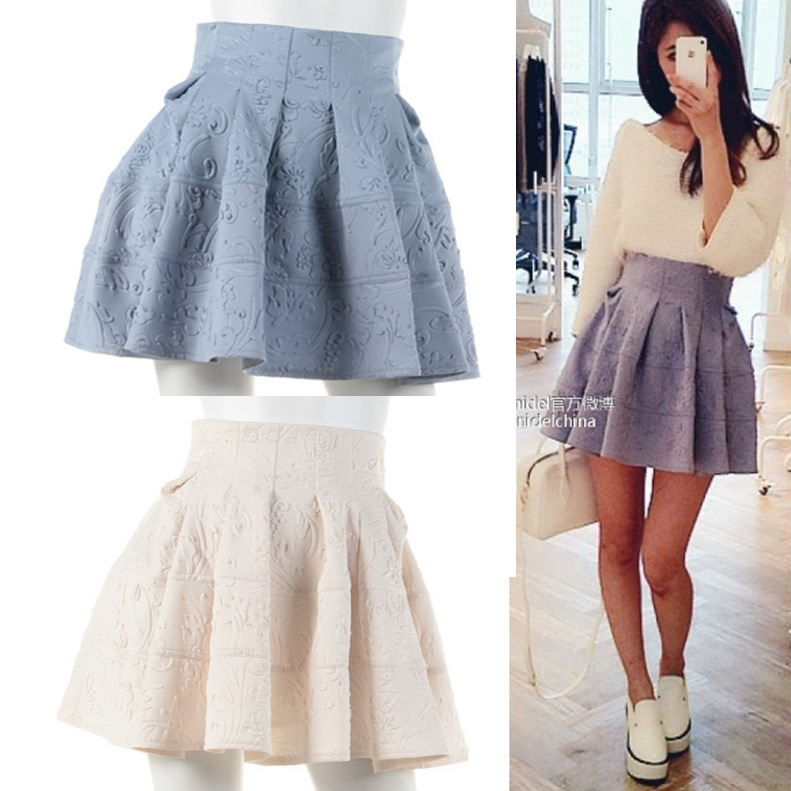 Free Shipping Skirt Women Fashion 2013high Waist Tutu New VIVI Magazine LENA Relief Dark Pattern Half In Skirts From Womens Clothing