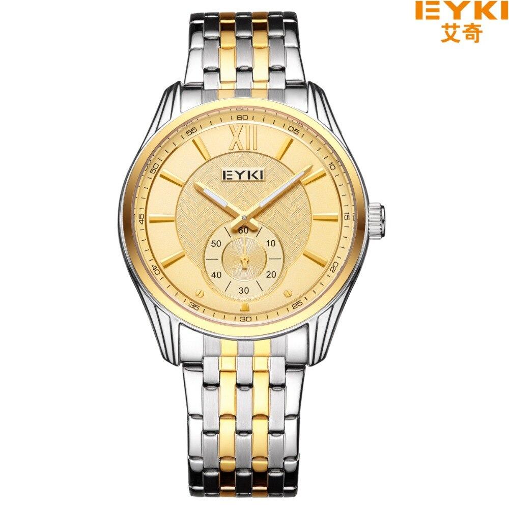 EYKI Stainless Steel Men Watches Roman Numeral Small Seconds Away Luminous Quartz Watch Business Dress Wristwatches Reloj Hombre replica omega de ville coaxial small seconds prestige small seconds series