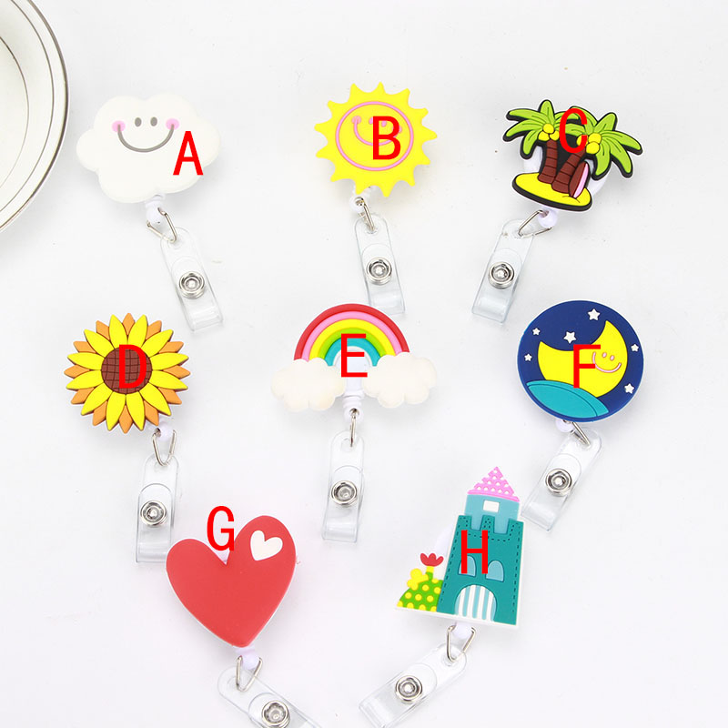 Image 3 - 8 pcs/lot Lovely Heart Clouds House Nurse Retractable Badge Reel Pull ID Card 3D Badge Holder Belt Clip Hospital School Office-in Badge Holder & Accessories from Office & School Supplies