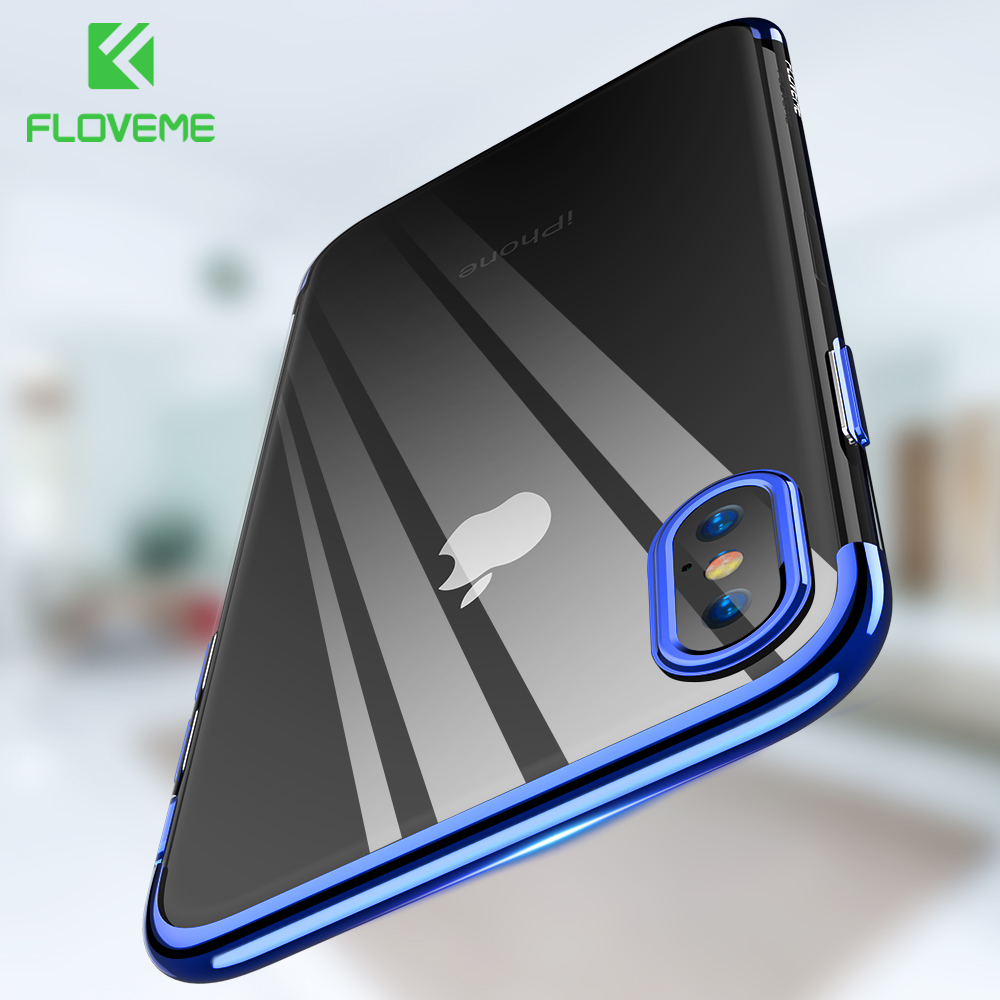 FLOVEME Luxury Soft Phone Case For iPhone X 7 8 , Transparent Silicon For iPhone 6 6s 8 7 Plus 10 Cases Ultra Thin iPone Cover