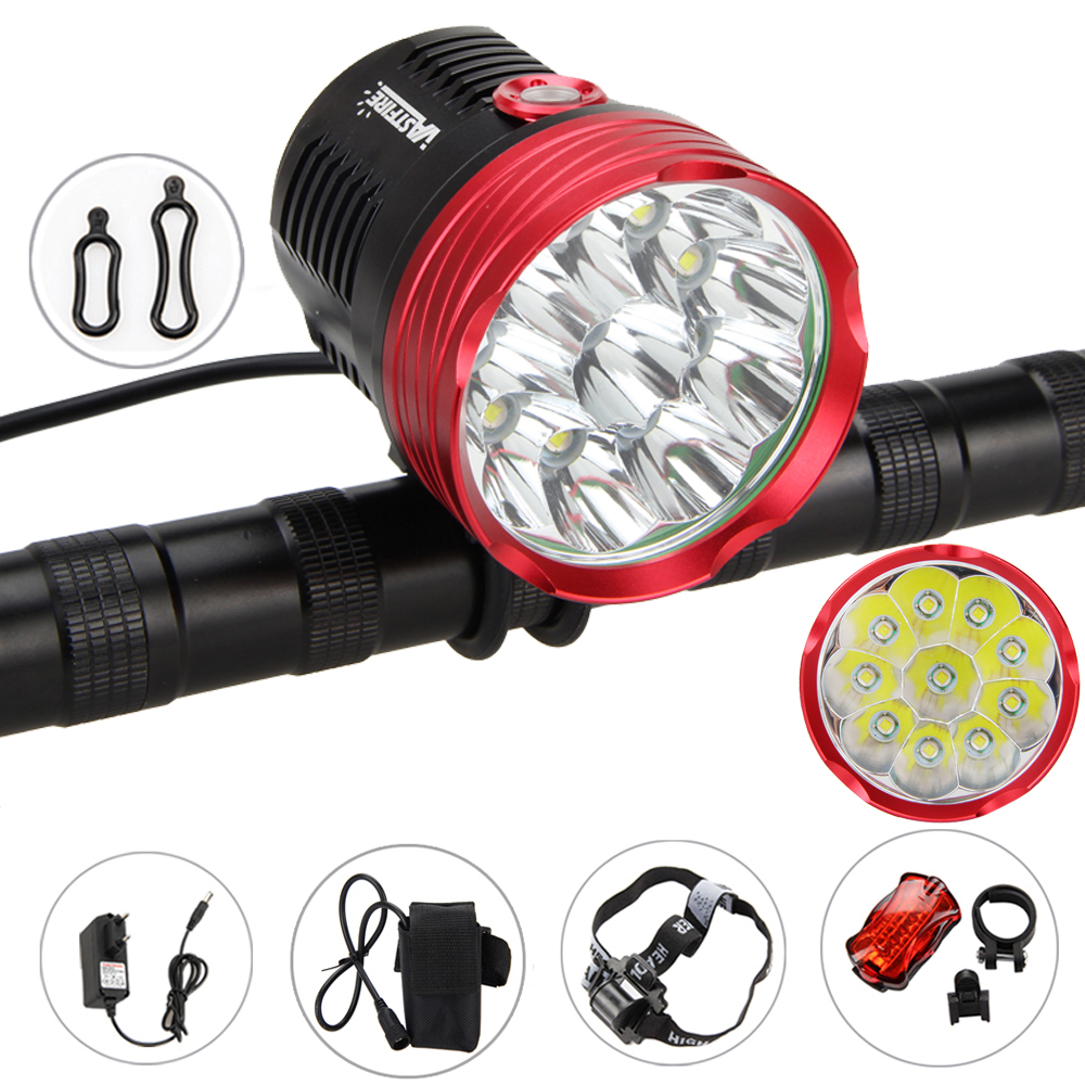 18000Lm 10x XM-L T6 LED Bike Bicycle Light Head front Light Headlamp+18650 Battery Pack+Taillight 18000 lumens bike headlamp flashlight 9x cree xm l2 led bicycle light cycling helmet headlight 18650 battery pack charger