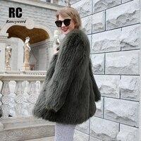 [Rancyword] роскошный Для женщин пальто куртки натуральным лисьим мехом куртки для девочек с натуральным лисьим мехом верхняя одежда Женская зи