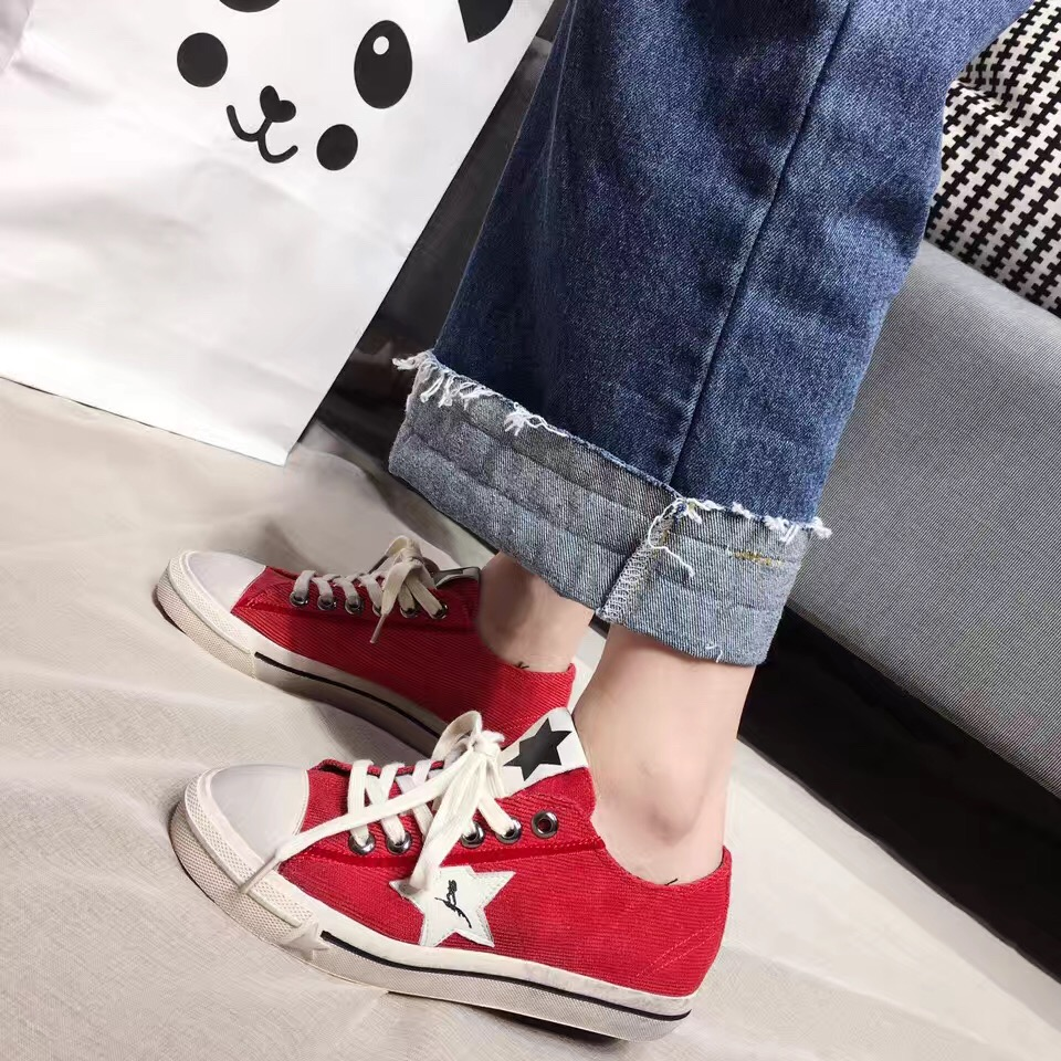 ФОТО 2017 New Low Top Canvas Shoes Red Black Casual Shoes Lace Up Scarpe Donna Ladies Shoes Red Canvas Shoes