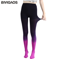 New Womens Four Seasons Kawaii 120D Velvet Gradient Opaque Seamless Pantyhose Stockings Candy Color Tights Medias