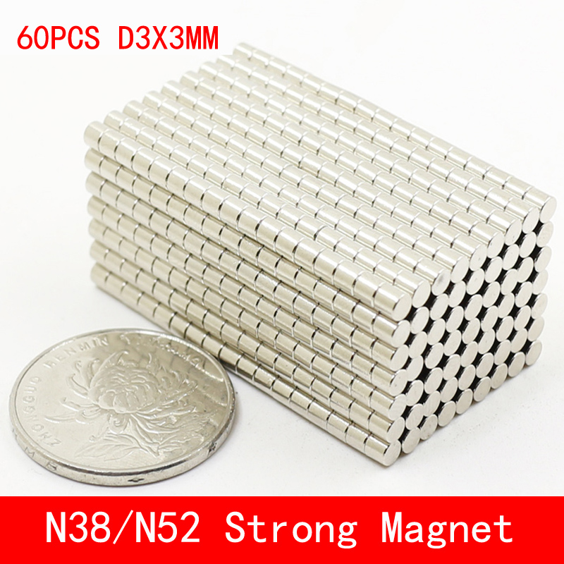 60pcs/lot Super Strong Rare Earth mini 3mm x Permanet Magnet Round Neodymium N52 N38 3*3MM surface plate nickel