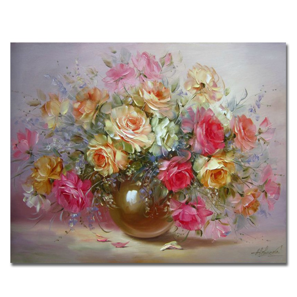 WONZOM Paint By Numbers Flowers DIY Oil Painting On Canvas With Frame Home Decor Wall Art For Living Room Acrylic Paint 40X50CM in Painting Calligraphy from Home Garden