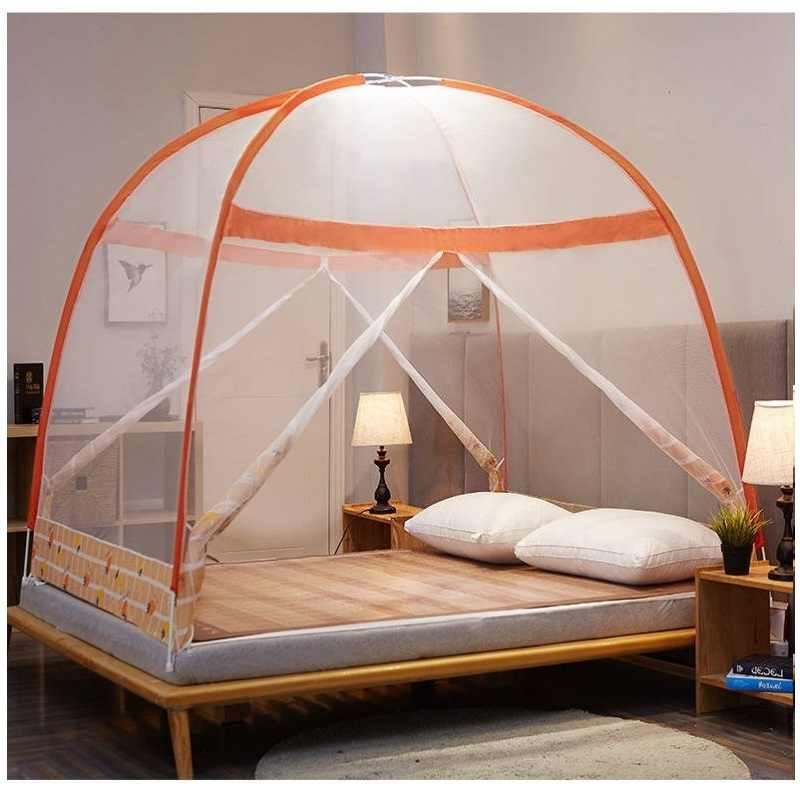 Summer Fine Mesh Mosquito Curtain Mongolian Yurt Mosquito Nets For Double Bed Bi-parting Dome Netting Tent With Zipper 2 Sizes
